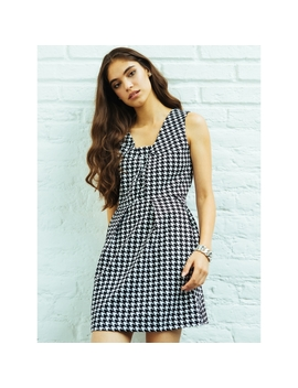Picnic Date Houndstooth Fit And Flare Dress by Wet Seal