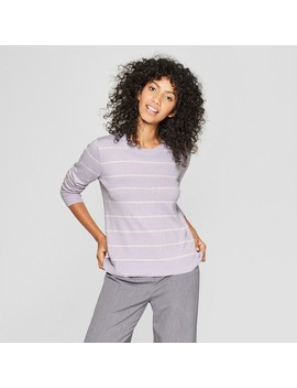 Women's Striped Metallic Pullover Sweater   A New Day™ by A New Day