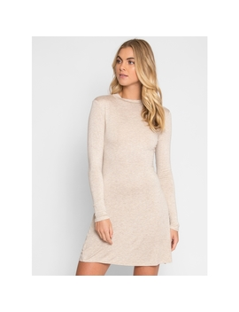 Your Must Have Crew Neck Dress In Oatmeal by Wet Seal