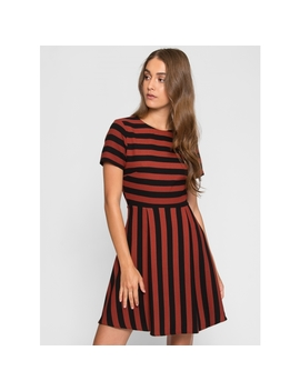 Equinox Fit And Flare Stripe Dress by Wet Seal