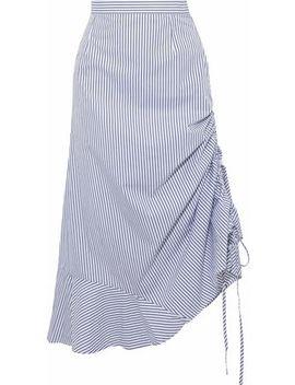 Casey Ruched Striped Cotton Poplin Midi Skirt by Iris & Ink