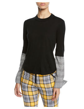 Roscoe Crewneck Wool Sweater With Plaid Sleeves by Veronica Beard