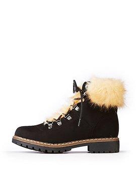 Faux Fur Trim Combat Boots by Charlotte Russe