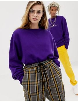 Collusion Unisex Sweatshirt In Purple by Collusion