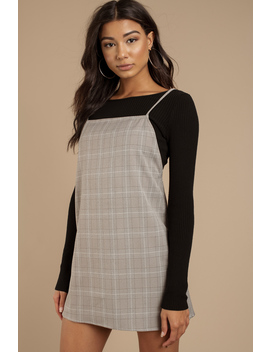Check Point Mocha Multi Plaid Shift Dress by Tobi