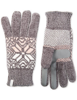 Isotoner Women's Touchscreen Chenille Gloves With Snowflake Accent, Created For Macy's by Isotoner Signature