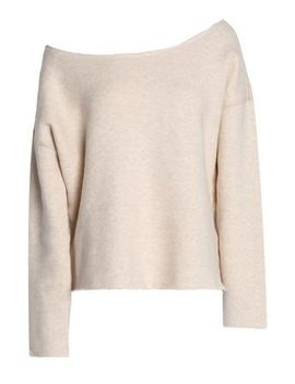 Off The Shoulder Mélange Stretch Cotton Terry Sweatshirt by Mother