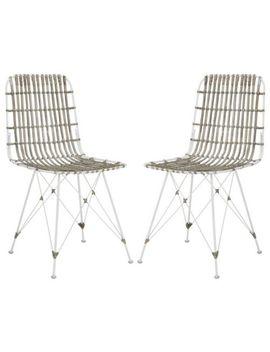 Safavieh Wik6510 C Set2 Minerva Wicker Dining Chair White Wash New by Safavieh