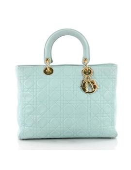 Lady Dior Handbag Cannage Quilt Large Tiffany Blue Lambskin Leather Satchel by Dior
