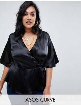 Asos Design Curve Satin Wrap Top by Asos Design