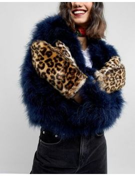 Pieces Faux Fur Leopard Mittens by Pieces