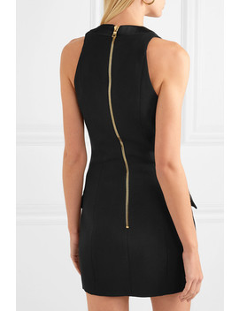 Button Detailed Satin Trimmed Grain De Poudre Wool Mini Dress by Balmain