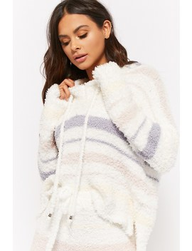 Striped Fuzzy Knit Hood by Forever 21