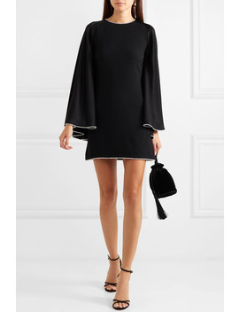 Crystal Embellished Open Back Satin Mini Dress by Sonia Rykiel