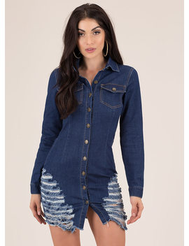 Slashback Saturday Destroyed Denim Dress by Go Jane