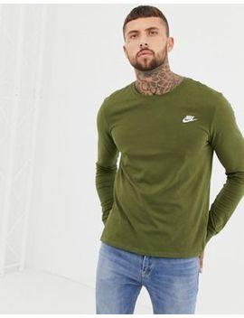 Nike Club Long Sleeve T Shirt In Green Aq7141 395 by Nike