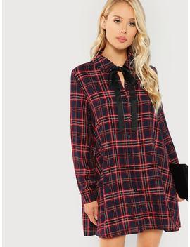 Tie Neck Plaid Shirt Dress by Shein