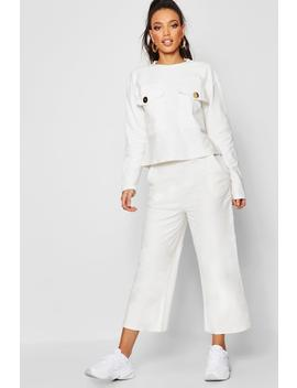 Oversized Pocket Detail Sweat & Cullotte Coord by Boohoo