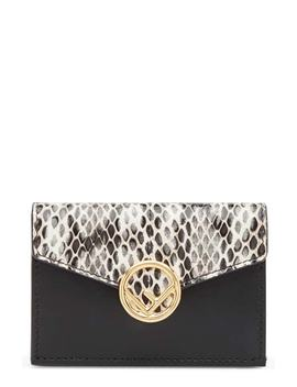 Kan I Leather & Genuine Snakeskin Trifold Wallet by Fendi