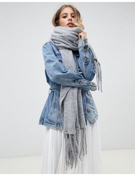 Free People Jaden Ribbed Fringe Blanket Scarf by Free People