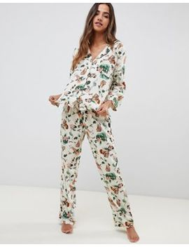 Asos Design Safari Print Traditional Pyjama Set In 100 Percents Modal by Asos Design