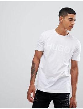 Hugo Dolive U Large Logo T Shirt In White by Hugo