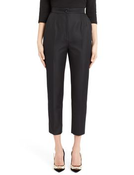 Pleated Silk Blend Skinny Pants by Dolce&Gabbana