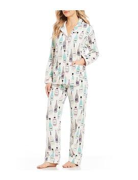 Sip Sip Hooray  Printed Flannel Pajamas by Pj Salvage