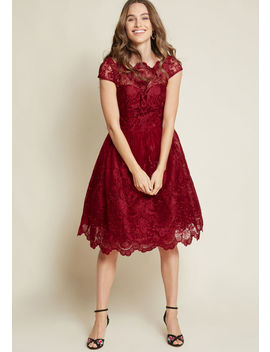 Chi Chi London Exquisite Elegance Lace Dress In Burgundy by Chi Chi London