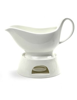 Norpro Porcelain Gravy Sauce Boat With Stand And Candle by Norpro