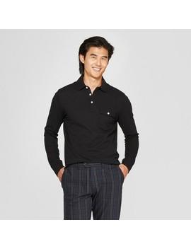 Men's Long Sleeve Pique Polo Shirt   Goodfellow & Co™ Black by Goodfellow & Co