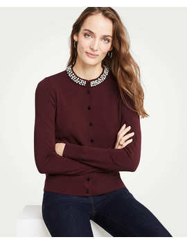 Petite Jeweled Neck Ann Cardigan by Ann Taylor