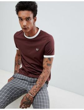 Fred Perry Ringer T Shirt In Burgundy by Fred Perry