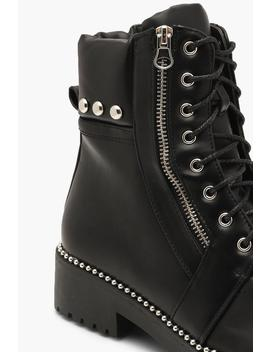 Studded Zip And Lace Up Hiker Boots by Boohoo