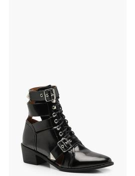 Cut Work Hiker Boots by Boohoo