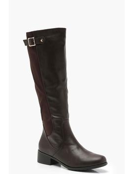 Buckle Trim Knee High Rider Boots by Boohoo