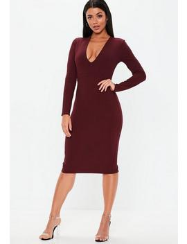 Burgundy Plunge Ribbed Slinky Midi Dress by Missguided