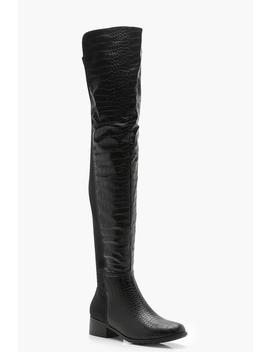 Croc Knee High Boots by Boohoo