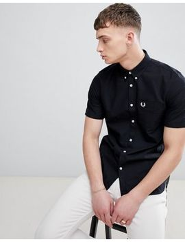 Fred Perry Classic Oxford Short Sleeve Shirt In Black by Fred Perry