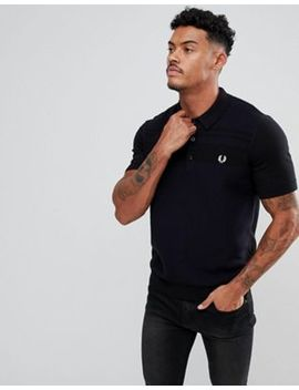 Fred Perry Textured Knitted Polo Shirt In Black by Fred Perry