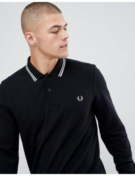 Fred Perry Long Sleeve Twin Tipped Polo In Black by Fred Perry