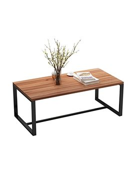 Decho Vintage Coffee Table, Cocktail Table For Living Room, Home Office Furniture With Metal Frame, Oak Brown+ Black Leg by Decho Design