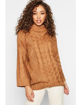 Oversized Roll Neck Cable Jumper by Boohoo