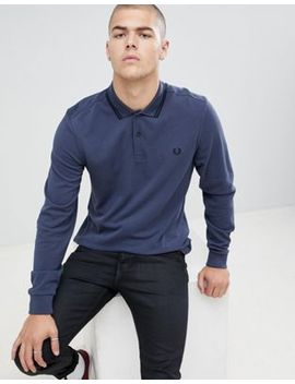 Fred Perry Long Sleeve Twin Tipped Polo In Steel Blue by Fred Perry