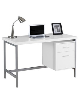 Computer Desk With Drawers   Silver Metal & White   Every Room by Shop This Collection