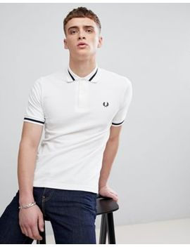 Fred Perry Reissues Single Tipped Polo In White by Fred Perry