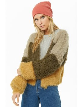 Colorblock Shaggy Faux Fur Cardigan by Forever 21