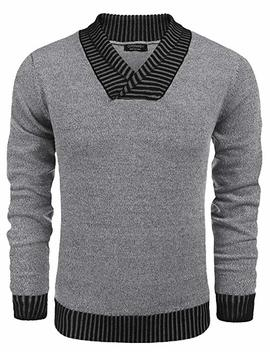 Coofandy Men's Knitted Sweaters Casual V Neck Slim Fit Pullover Knitwear by Coofandy