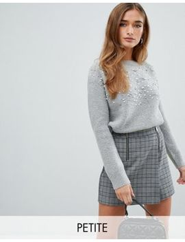 Fashion Union Petite Slouchy Embellished Sweater by Fashion Union