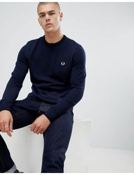 Fred Perry Crew Neck Merino Knitted Jumper In Navy by Fred Perry